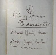 Canton De Narbonne, 1843 Quittance Joseph Sicard De Roubia à Joseph Sacly De Cassilhac - Manuscrits
