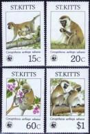 WWF Saint Kitts 1986 Green Monkey MNH - W.W.F.