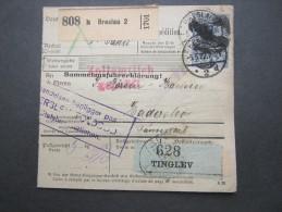 1922 , Paketkarte  Aus Breslau   Nach  Dänemark  Mit Seltenem Korkstempel Als Entwertung - Briefe U. Dokumente