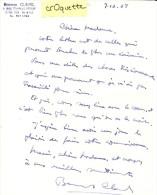 AUTOGRAPHE De BERNARD CLAVEL - LETTRE SIGNEE En 1968 - Autógrafos