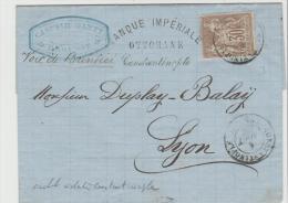 FDI14f / Allegorie Type I 1877. Banque Constantonople 1877 Nach Lyon - Levant (1885-1946)