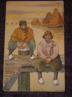 Belle Cpa Illustrée Signée Melchers - Pecheurs Hollande - Types Hollandais - W. De Haan, Utrecht - 1910 - Other Illustrators
