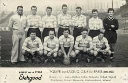 EQUIPE DU RACING CLUB DE PARIS - 1949/1950. - Calcio
