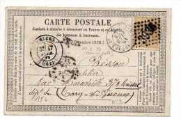 """1873 - CARTE PRECURSEUR N°2 De THIERS (PUY DE DOME) Avec CACHET AMBULANT """"CETTE A BORDEAUX"""" - Poste Ferroviaire"""