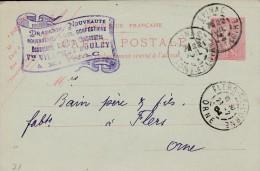 "Epinac-entier Postal Semeuse Lignée - Cachet Magasin "" VILLEMOT BOULEY"" - Scan Recto-verso - Biglietto Postale"