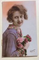 Donna Con Fiori 1926 Viaggiata Fp - Cartoline