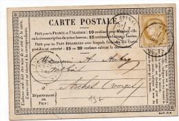 1876 - CARTE PRECURSEUR D'EPINAL (VOSGES) Avec TYPE 17 - Marcophilie (Lettres)