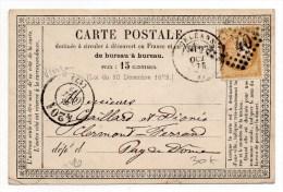 1873 - CARTE PRECURSEUR D´ORLEANS Avec CACHET BUREAU DE PASSE 4201 De VIERZON (CHER) - Marcophilie (Lettres)