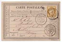 1876 - CARTE PRECURSEUR De RAMBERVILLERS (VOSGES) - Marcophilie (Lettres)
