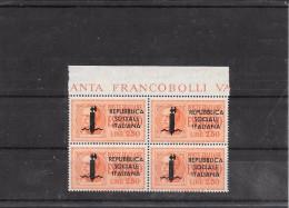 ITALIA R.S.I. ESPRESSO 1944 LIRE 2,50 QUARTINA BORDO DI FOGLIO - 4. 1944-45 Repubblica Sociale