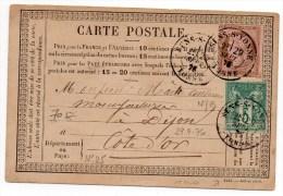 1876 - CARTE PRECURSEUR Avec TYPE 18 De SENS SUR YONNE Et AFFRANCHISSEMENT MIXTE N° 54 & 64 - ETIQUETTE COMMERCIALE - Marcophilie (Lettres)