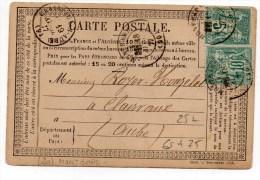 1877 - CARTE PRECURSEUR Avec TYPE 17 De MONTBARD (COTE D'OR) Et SAGE N° 65 & 75 - Marcophilie (Lettres)