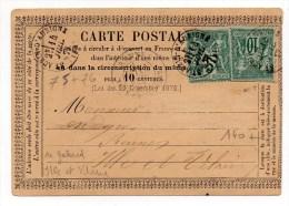 1877 - CARTE PRECURSEUR Avec TYPE 16 De SAINT AUBIN D'AUBIGNE (ILLE ET VILAINE) Et SAGE N° 75 & 76 -> ECRITE à GAHARD - Marcophilie (Lettres)