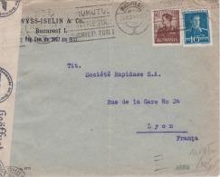 L.de Bucarest Du 20/08/1941 Pour Lyon, Avec Censure Roumania (Cenzurat) + Contrôle Allemand De L'OKW - WW II