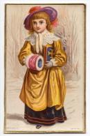 RARE Chromo Victorian Trade Card Marcus Ward Carte Voeux Fête Noël Christmas Greeting Personnage Jeune Femme Costume - Non Classés