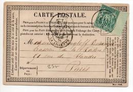 1876 - CARTE PRECURSEUR De PARIS Avec SAGE N° 65 - Marcophilie (Lettres)