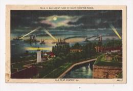 U S BATTLESHIP FLEET BY NIGHT HAMPTON ROADS OLD POINT CONFORT VA - Norfolk