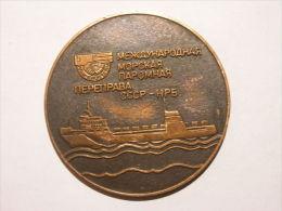 Soviet Union Ca 1980 Internationaler Meeresreht Sea Justice Schiff Ship Table Medaille Diam 6 Cm - Pièces écrasées (Elongated Coins)