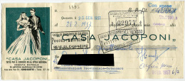 CAMBIALE CASA JACOPONI ABITI DA SPOSA GROSSETO ANNO 1957 - Azioni & Titoli