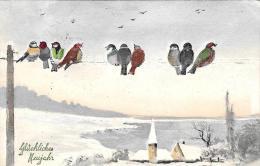 [DC2677] CPA - UCCELLINI - BELLISSIMA CARTOLINA AUGURALE DI BUON ANNO - GLUCHLICHES MEUJAHR - Viaggiata - Old Postcard - Uccelli