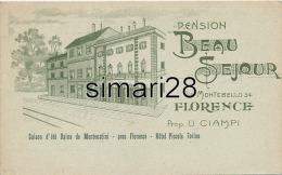 FLORENCE - CARTE PUBLICITAIRE DE LA PENSION BEAU SEJOUR - VIA MONTEBELLO - Firenze