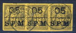 S. Pierre Et Miquelon 1885 - 91 N. 9 C. 05 Su C. 35 Sovrastampato SPM Bellissima STRISCIA DI 3 USATI Catalogo € 420 - St.Pierre & Miquelon