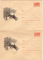 SKI-L1 - RUSSIE - URSS 2 Entiers Postaux Enveloppes Illustrées Thème Ski Dont Variété Avec Arbre Coupé - 1923-1991 USSR