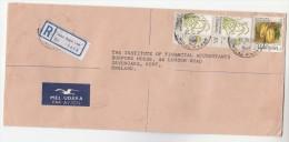 REGISTERED Air Mail JALAN BAGAN LUAR MALAYSIA Stamps COVER To GB Malaya Fruit Airmail Label - Malaysia (1964-...)