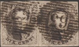 Belgique 1858 COB 10A, 10 C Médaillon Arrondi. Paire. P 63 Iseghem. Superbe. Retouches - Postmarks - Lines: Distributions