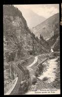 CPA ANCIENNE- SUISSE- VOIE FERRÉE DU GOTTARD AVEC TRAIN A VAPEUR GROS PLAN- 3 TUNNELS- ROUTE- PONT- - Suisse