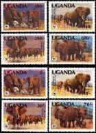 WWF Uganda 1983 1990 African Elephant MNH 2 Sets - W.W.F.