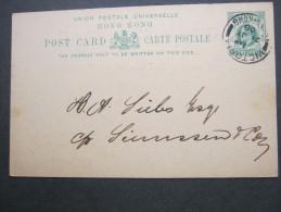 HONGKONG,  1909, Ganzsache Mit Rs. Zudruck - Covers & Documents