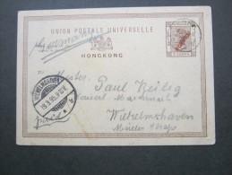 HONGKONG,  1895, Ganzsache Mit Aufdruck ( Overprinted) - Hong Kong (...-1997)