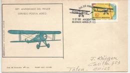 1 Er Transport Aérien Officiel Du Courrier Au-dessus La Cordillère Des Andes En 1919, Lettre FDC Adressée Au Chili - Flugzeuge