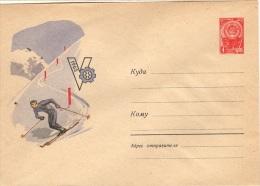 SKI-L24 - RUSSIE - URSS Entier Postal Enveloppe Illustrée Thème Ski Descente 1963 - Skiing