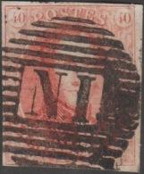 Belgique 1861 COB 12, 40 C Médaillon Allongé. Ambulant N. I., Bruxelles-Anvers - Balkenstempel: Bahnpoststempel