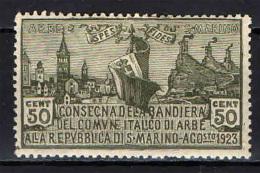 SAN MARINO - 1923 - CONSEGNA DELLA BANDIERA DI ARBE ALLA REPUBBLICA DI SAN MARINO - NUOVO MH - San Marino