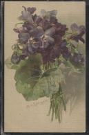 CPA - FLEURS - VIOLETTES - Illustration Signée M.V.LANGEN - Edition G.O.M - Flowers