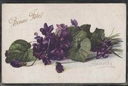 CPA - FLEURS - VIOLETTES - Illustration Signée BARILE - Edition Color Paris - Flowers
