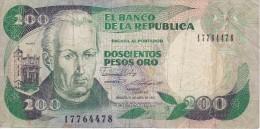 BILLETE DE COLOMBIA DE 200 PESOS DE ORO DEL AÑO 1987 CALIDAD RC  (BANK NOTE) - Colombia