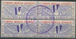 1205 - FRIBOURG Fiskalmarke Im Viererblock