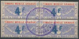 1208 - FRIBOURG Fiskalmarke Im Viererblock - Fiscaux