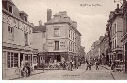 BERNAY: Rue Thiers (café, Magasin De Cycles) - Bernay