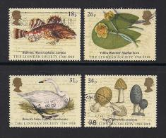 UK, 1988, Cancelled Stamps , Linnean Society,  1131-1134, #14479 - Used Stamps