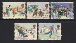 UK, 1990, Cancelled Stamp(s) , Christmas,  1300-1304, #14544 - Used Stamps