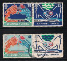 UK, 1994, Cancelled Stamp(s) , Channel Tunnel Pairs,  1513-1516,  #14582 - 1952-.... (Elizabeth II)