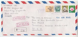REGISTERED Express Air Mail Seoul Seogyo SOUTH KOREA Multi Stamps COVER To USA - Korea, South