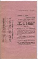 Laboratoire  Produit Véterinaire Bardin Gien - 45 - Emballage Vide Sel Du Berry Pour La Conservation Des Fromages - - Profumeria & Drogheria