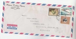 Air Mail JORDAN COVER Stamps  ANCIENT SCROLLS , WATER SKIING SPORT Etc  To GB - Jordan