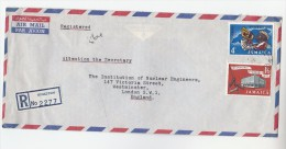 1962 REGISTERED Air Mail JAMAICA Stamps COVER To Institute NUCLEAR ENGINEERS London GB Atomic Energy - Jamaica (1962-...)
